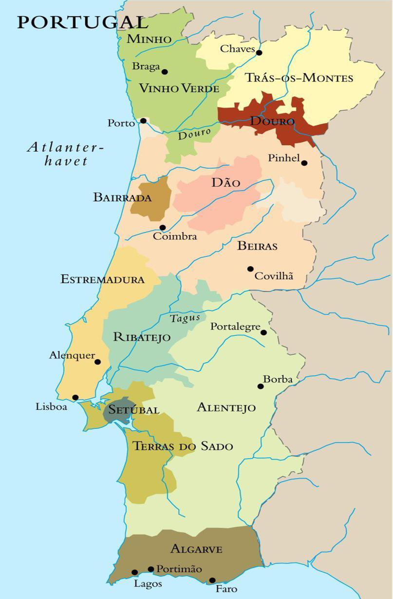 Kart over vinregionene i Portugal. Foto.