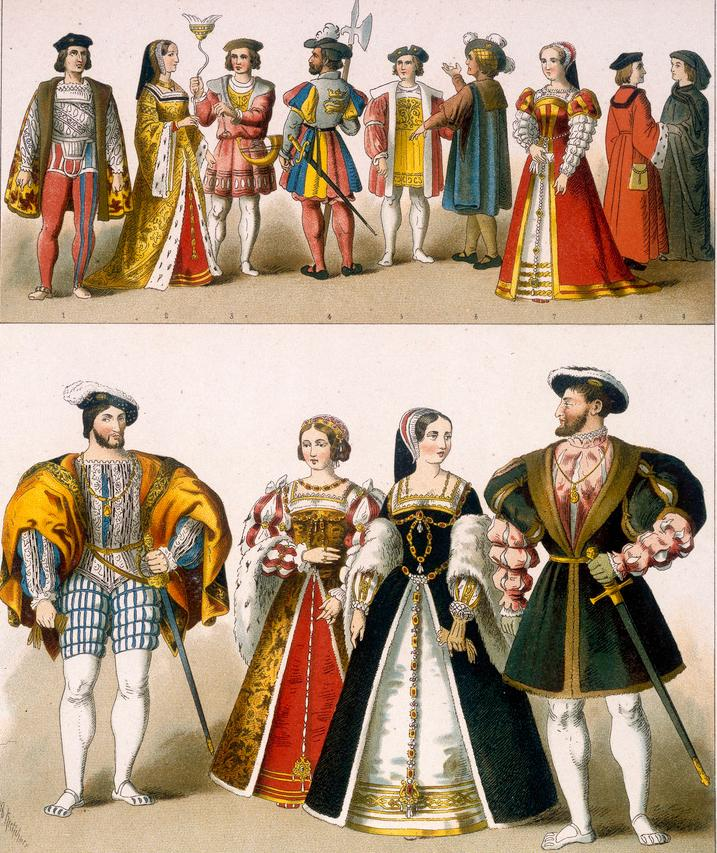Menn og kvinner i store klesdrakter fra renessansen. Mennene har også sverd. Illustrasjon.