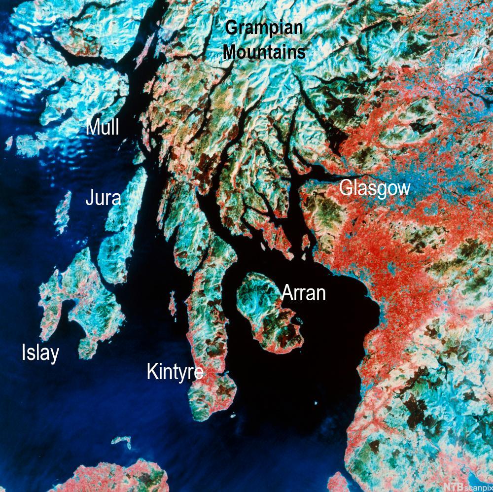 Satelittbilde av sørvest Skottland