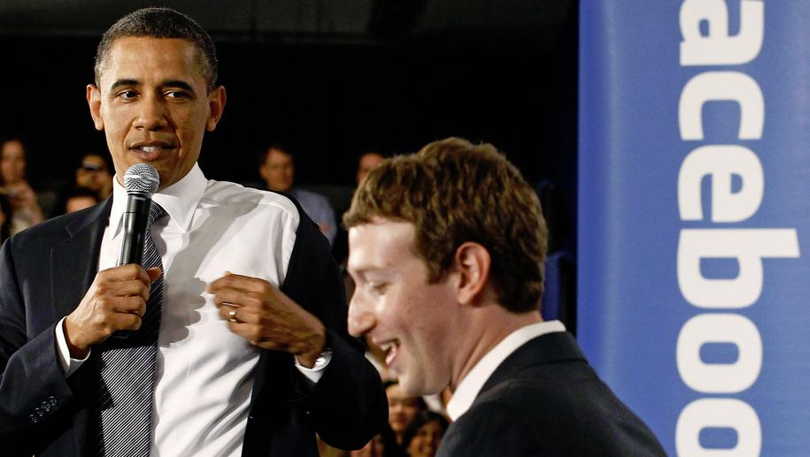 Obama på møte i Facebooks hovedkvarter. Foto.
