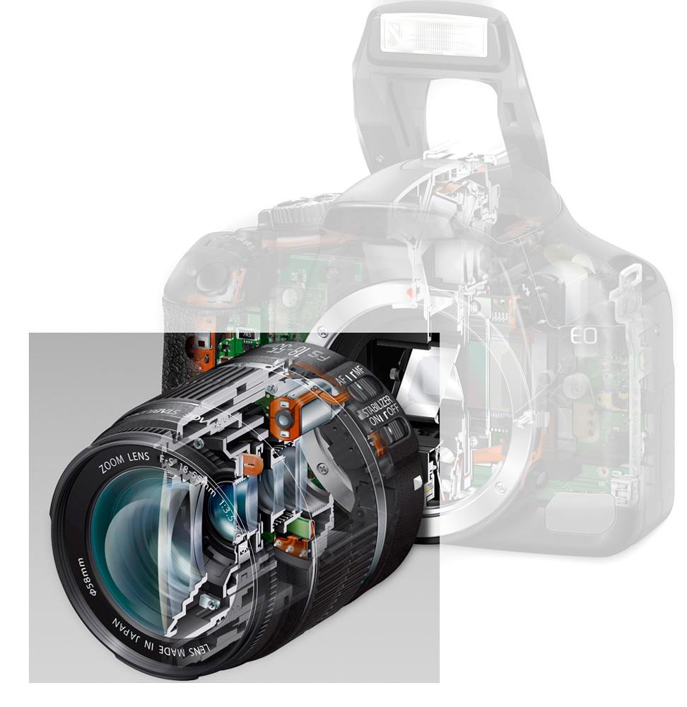 Delvis gjennomsiktig fotoapparat med objektiv. Foto.