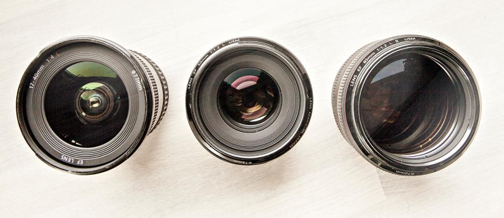 Tre objektiver med forskjellig brennvidde. Foto.