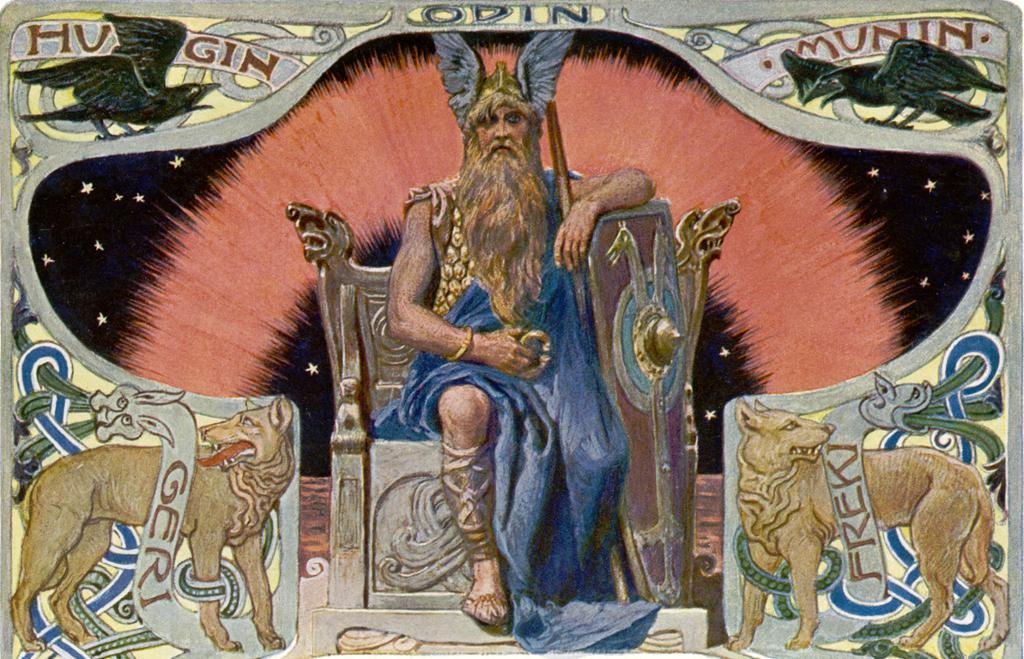 Odin på tronen omgitt av ravene Hugin og Munin, og hundene Geri og Freki. Illustrasjon.