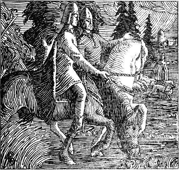 To menn til hest. Illustrasjon.