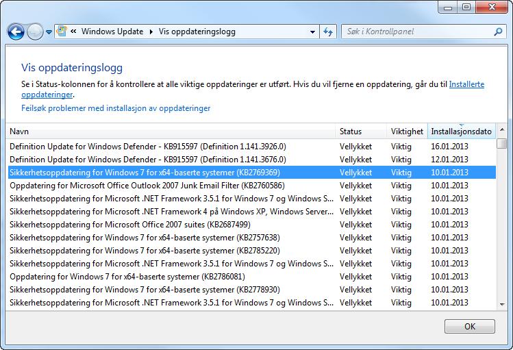 Oppdateringslogg i Windows