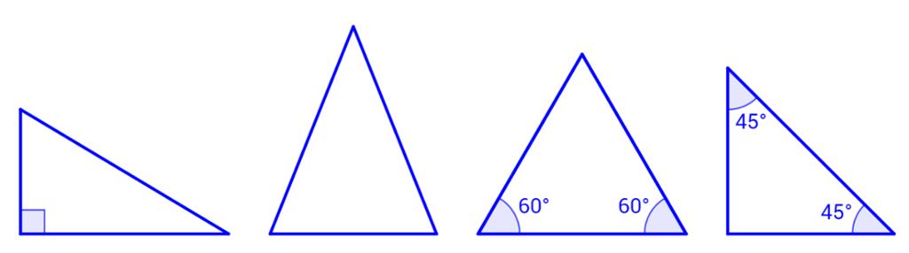 Spesielle trekanter. Illustrasjon.