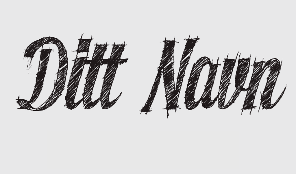 Skisse av ditt navn med blyant strek. Illustrasjone.