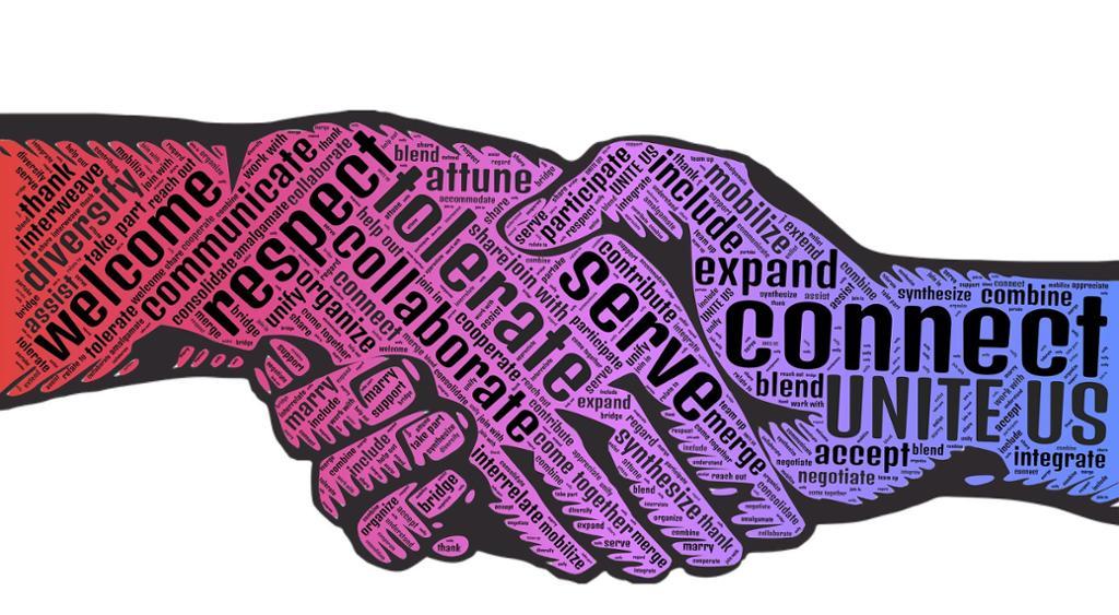 Håndhilsen med ordsky. Grafisk