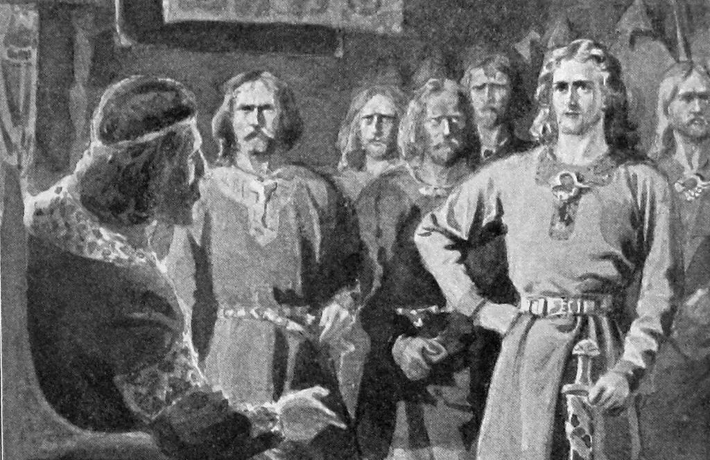 Gunnlaug møter kongen sammen med mange menn. Illustrasjon.