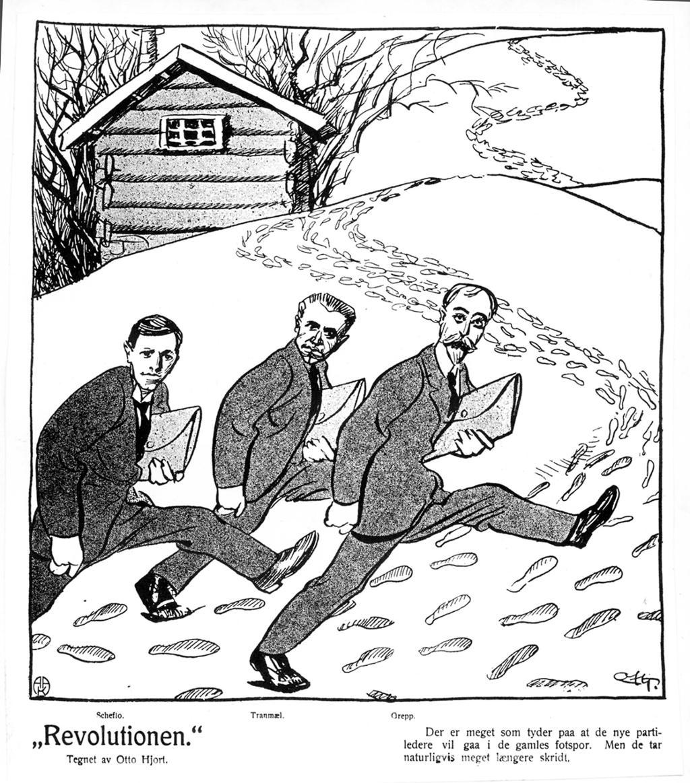 """Karikaturtegning som forestiller Scheflo, Tranmæl og Grepp som går med lange steg i snøspor. Underteksten lyder """"Det er meget som tyder paa at de nye partilederne vil gaa i de gamles fotspor. Men de tar naturligvis meget længre skritt"""". Tegning"""