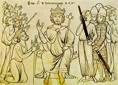 Keiser Otto aksepterer Bergengar II av Italis overgivelse. Illustrasjon.