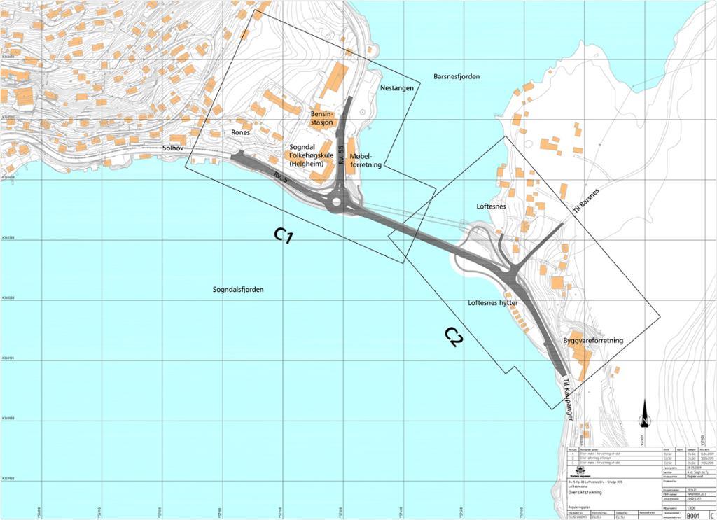 Oversiktsregning for prosjektet Loftesnesbrui. Figur.