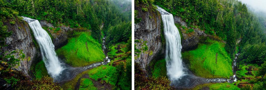 Foss gjennom grønt skoglandskap. Foto.