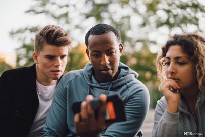 Ungdommer ser på en mobiltelefon. Foto.