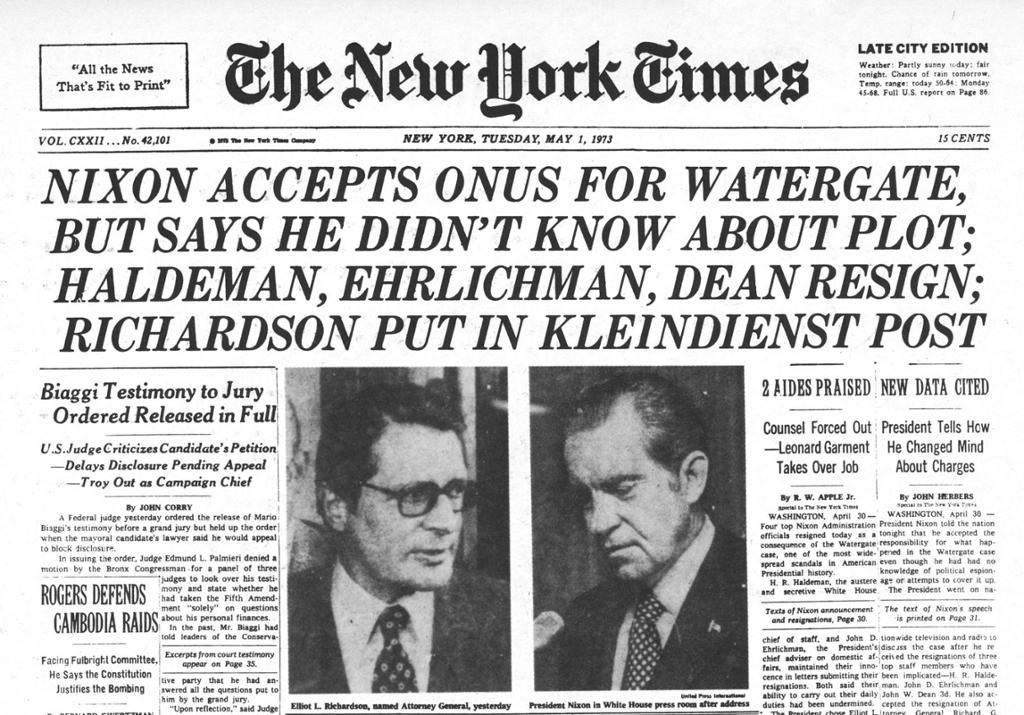 Forsida til The New York Times med en sak om Watergateskandalen. Fasimile.