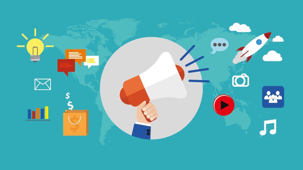 Symboler for markedsføring på internett. Foto.