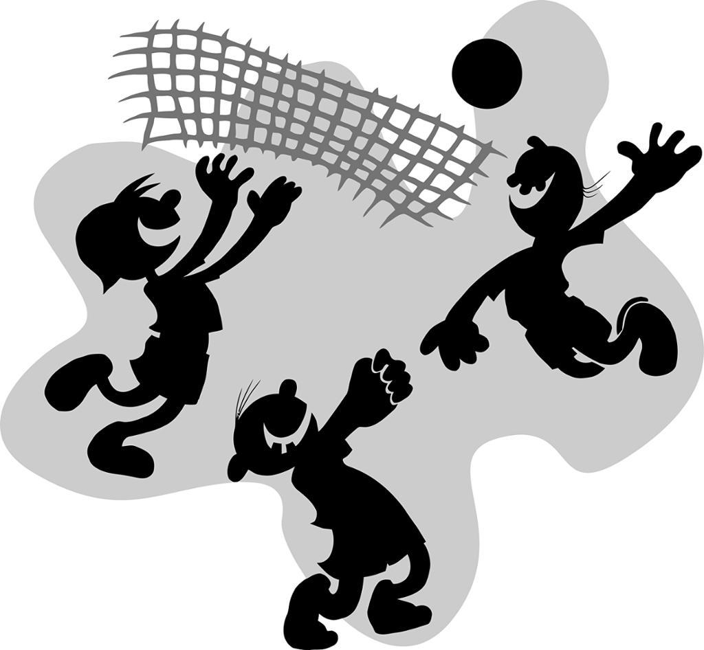 Illustrasjon av personer som spiller volleyball. Foto.