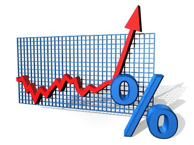Illustrasjon av et prosentvis diagram på vei opp. Illustrasjon.