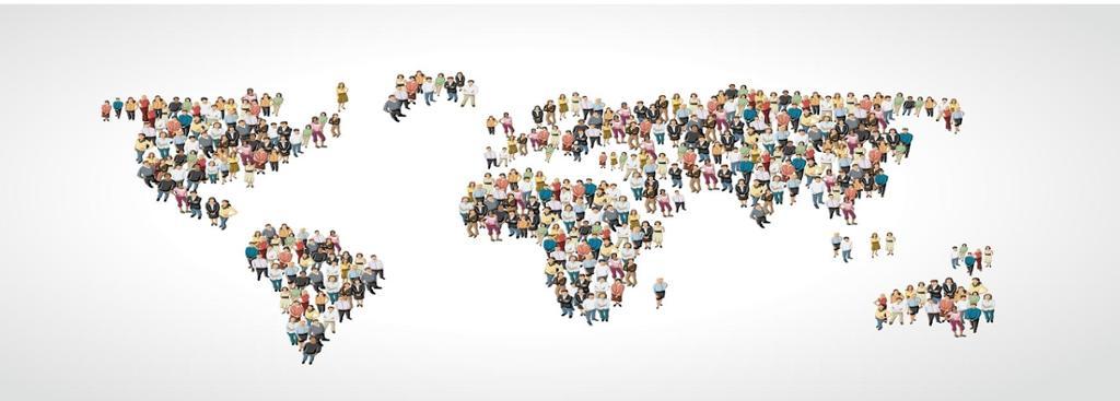 Gruppe av mennesker lager en jordklode form. Illustrasjon
