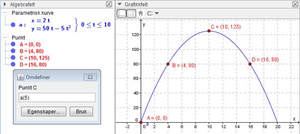 Skjermbilde av parametrisk kurve i GeoGebra. Bilde.