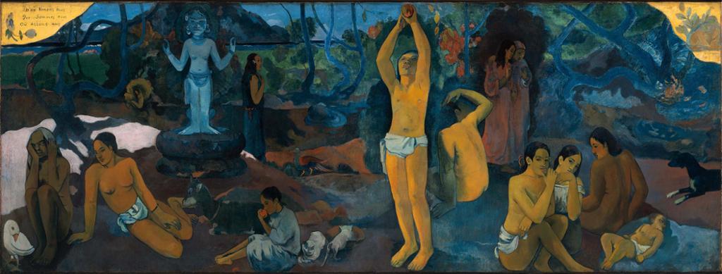 Maleri av Paul Gauguin som viser ulike personer på Tahiti. Foto.
