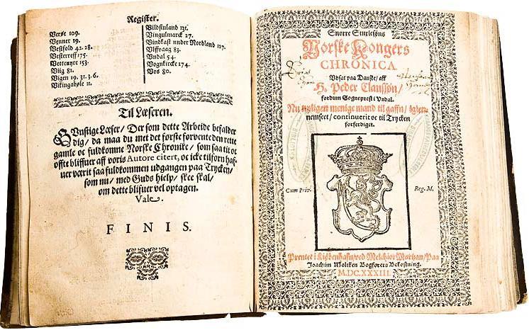 Tittelbladene til Norske kongers Chronica fra 1633. Faksimile.