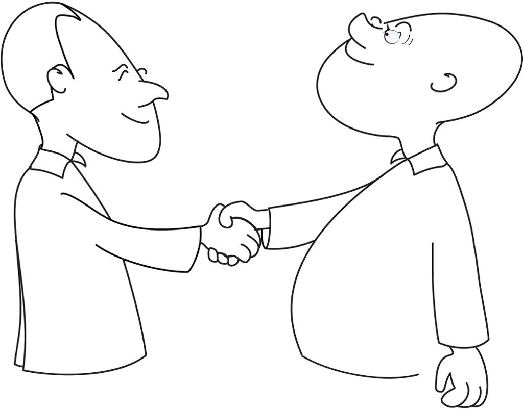 To personer gir håndtrykk. illustrasjon.