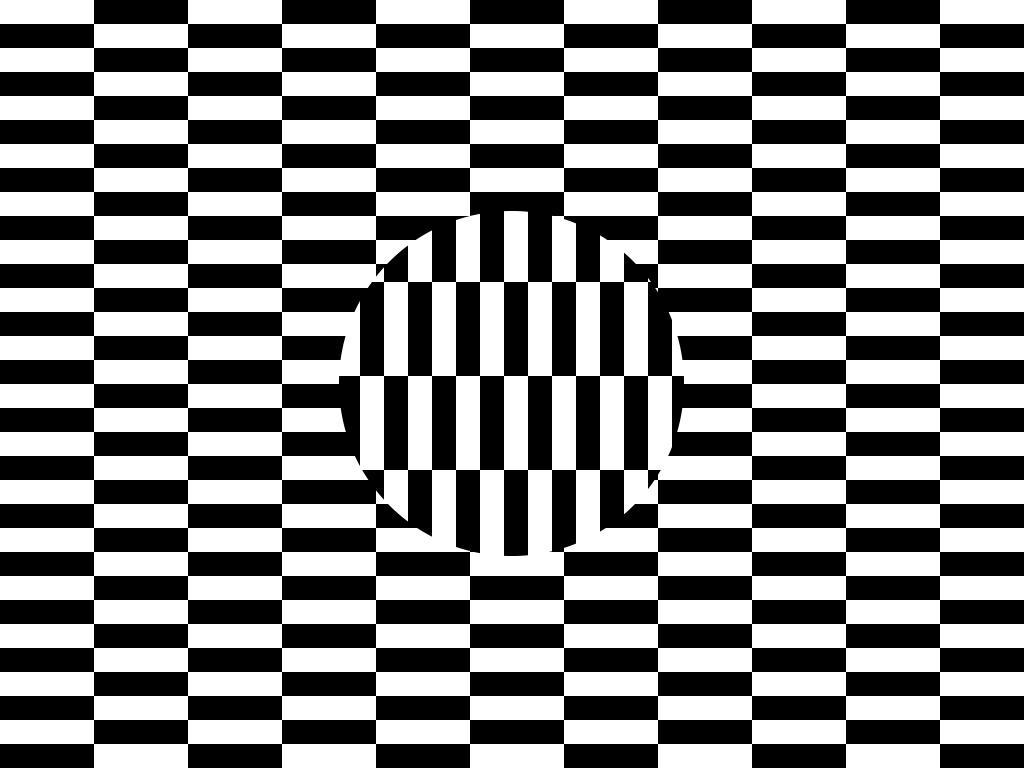 Persepsjon. Ruter og en sirkel som lurer øyet. Bilde.