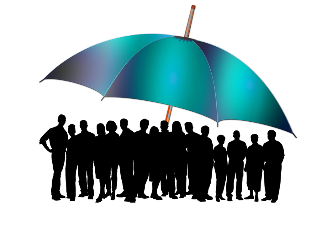 Siluett av stor gruppe mennesker under diger paraply. Illustrasjon.