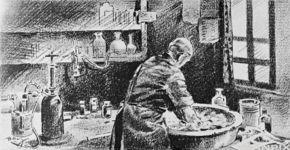 Ignaz Semmelweis vaskar hendene før han skal operere. Illustrasjon.
