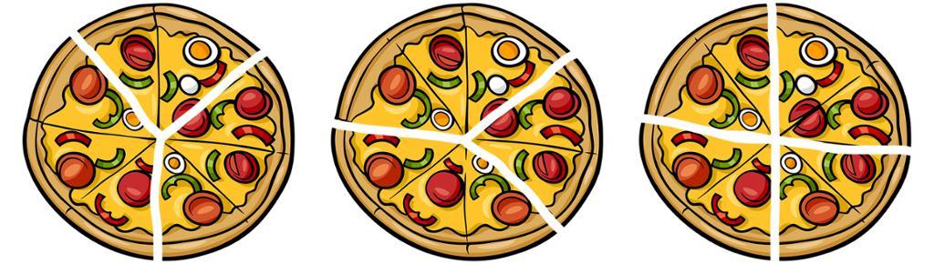 Tre oppskjærte pizzaar. Foto.