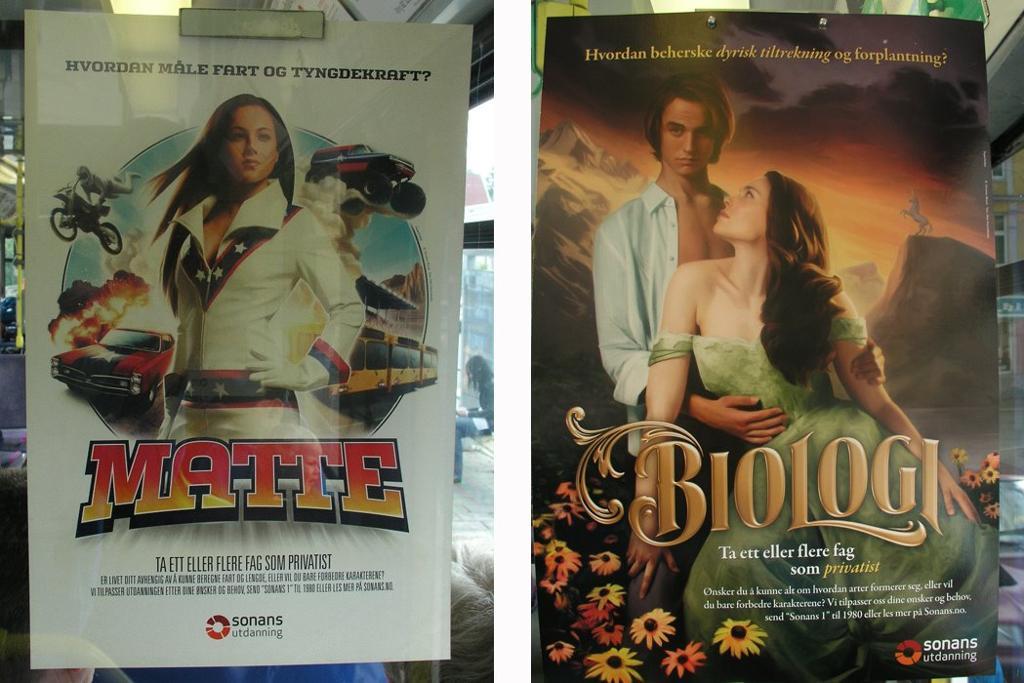 Reklameplaketer for fagene Matte og Biologi. Foto.