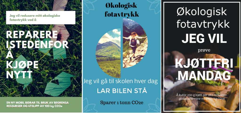Kollasj av plakater om økologisk fotavtrykk. Foto.