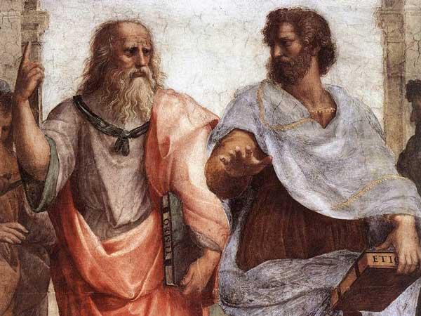 Platon og Aristoteles i utsnitt av fresken Skolen i Athen av Rafael. Maleri.