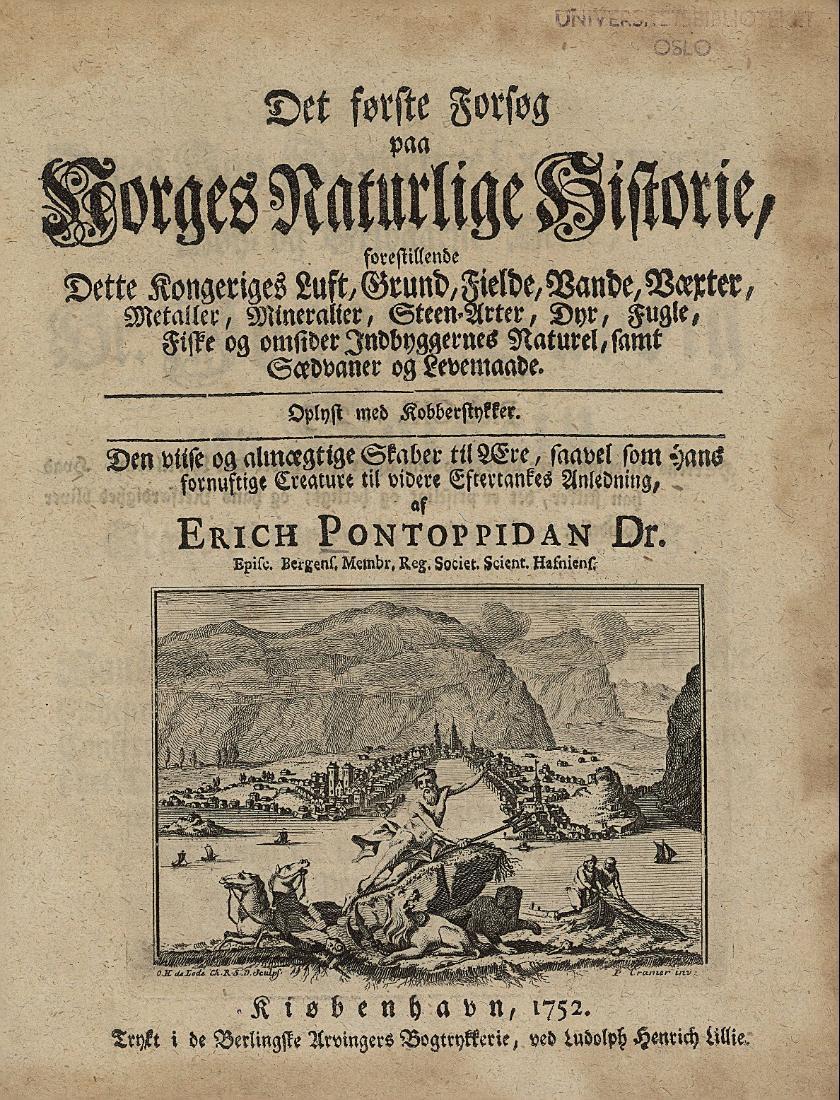 Forsida til Pontoppidans bok om Norge. Faksimile.