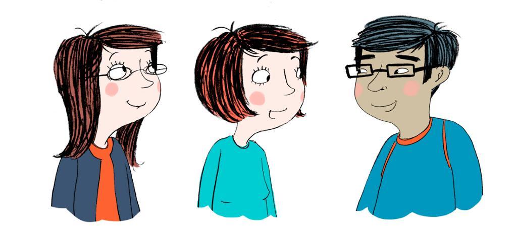 Tre studenter snakker sammen. Tankebobler av hver sine interesser. Illustrasjon