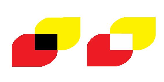 Raudt og gult med svart og kvitt felt mellom. Illustrasjon.