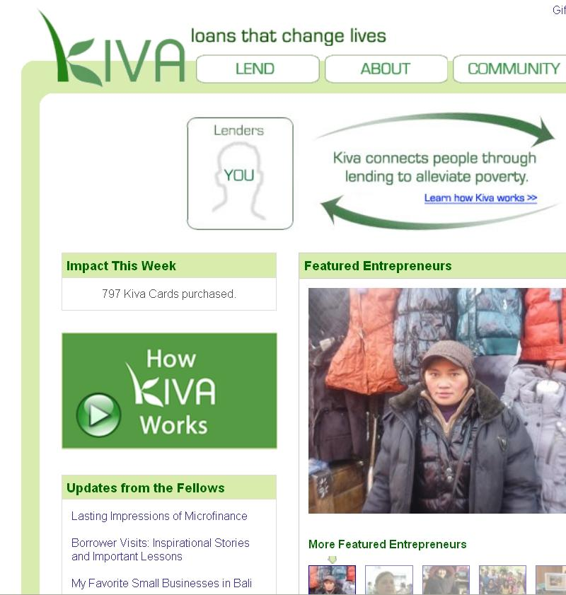 Kiva's mission is to connect people, through lending, for the sake of alleviating poverty.
