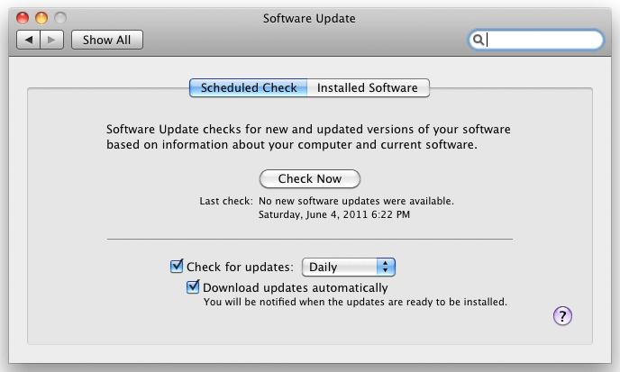Programvareoppdatering i Mac IOS.