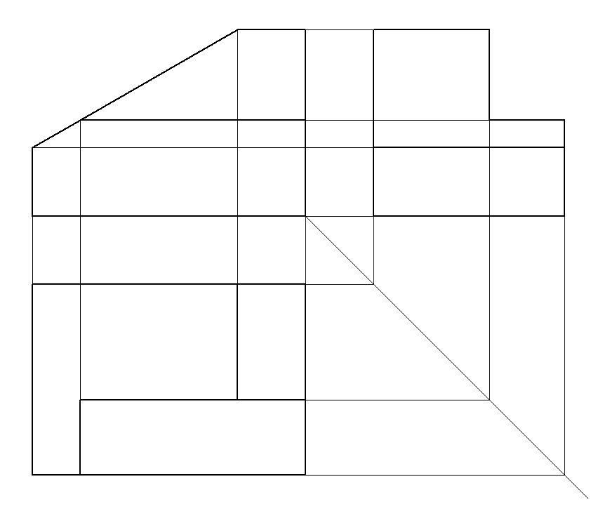 Bilde. Tegning av projeksjonslinjer.