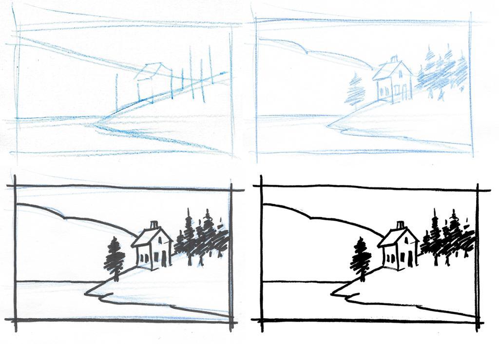 Prosess for skisse av landskap. Tegning.