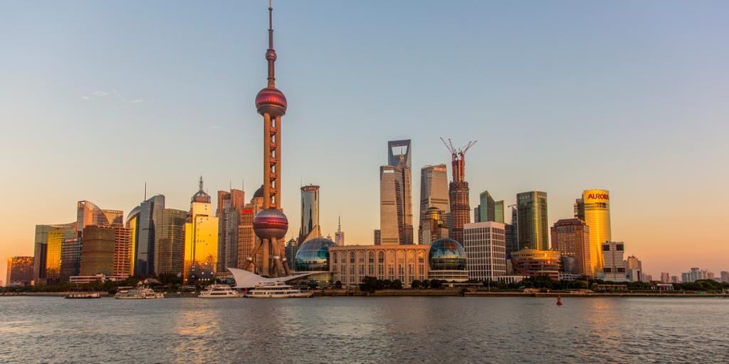 Pudong i Shanghai. Foto.