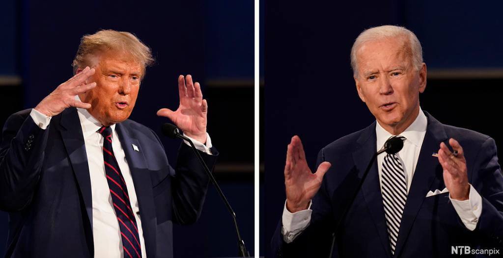 Bilete av Trump og Biden i valdebatten hausten 2020. Foto.