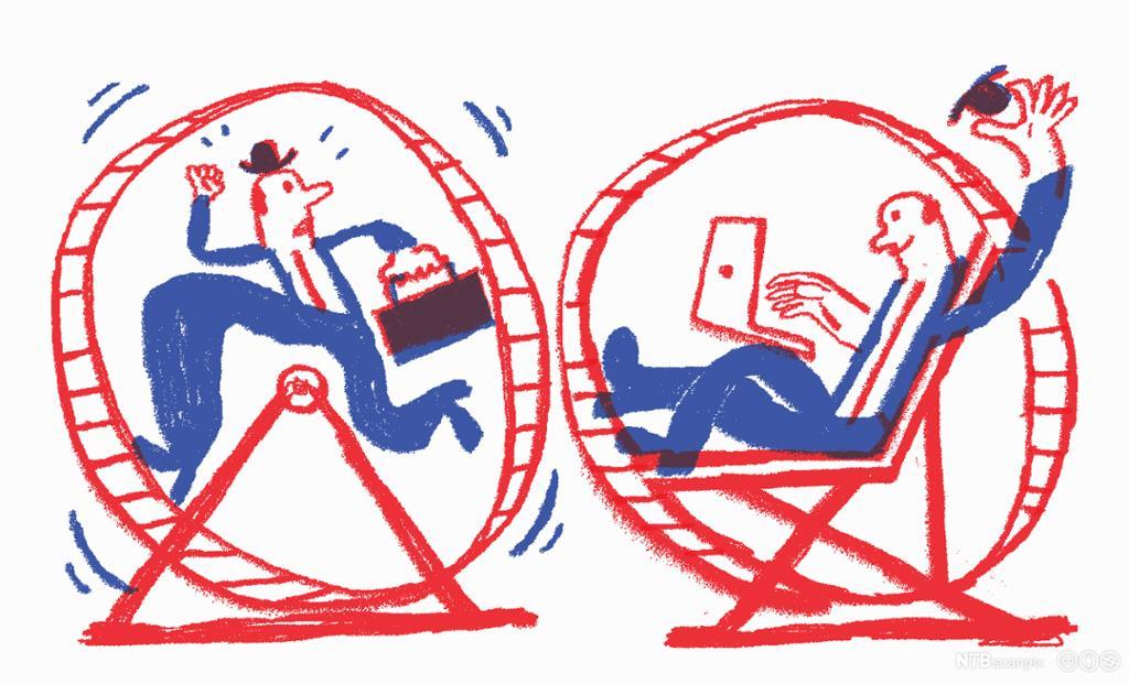Stresset ansatt i hamsterhjul og avslappet ansatt i hamsterhjul. Tegning