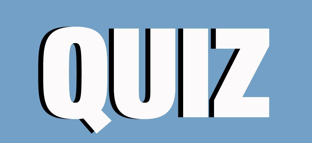 ordet quiz på blå bakgrunn. Illustrasjon.