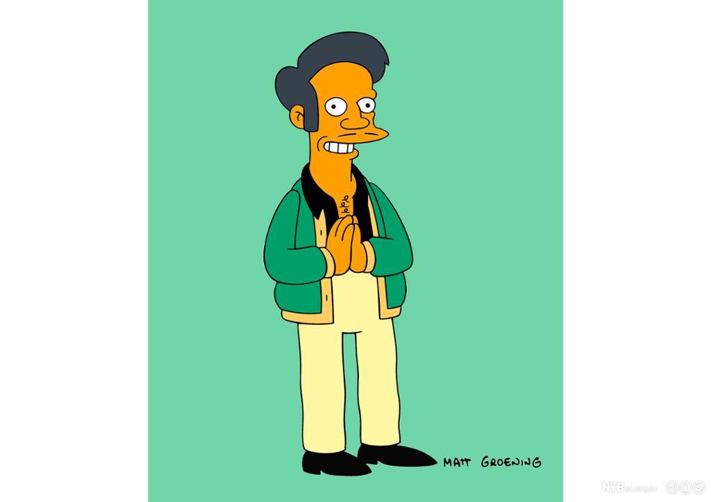 Portrett av den indiske butikkeieren Apu, somer en figur iTV-serienThe Simpsons. Illustrasjon.