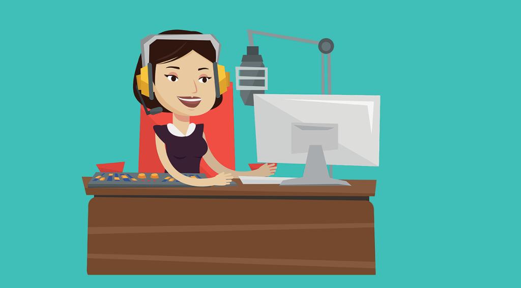 Kvinne som sitter ved et bord med datamaskin, mikrofon og lydmikser foran seg. Illustrasjon.