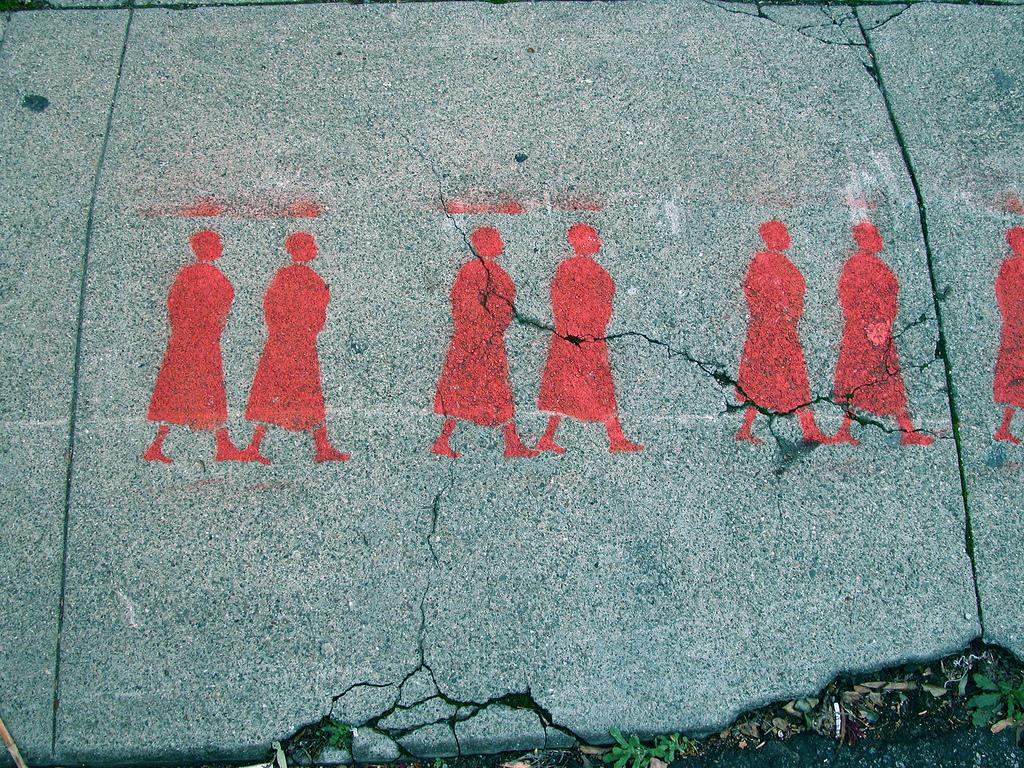 Red stencil walkers