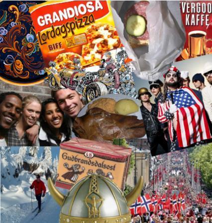 Kollasje av flere ulike reklamer. Foto.