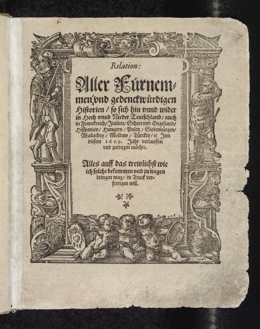 Forsida til verdens første avis. Faksimile.